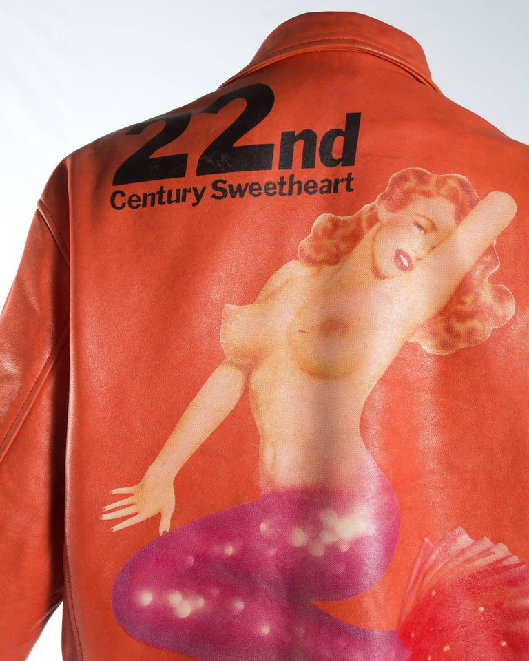 Yohji Yamamoto orange leather jacket with Marilyn Monroe pin-up, A / W 1991  In Good Condition For Sale In London, GB