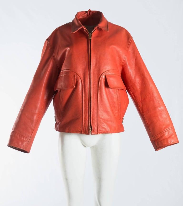 Women's or Men's Yohji Yamamoto orange leather jacket with Marilyn Monroe pin-up, A / W 1991  For Sale