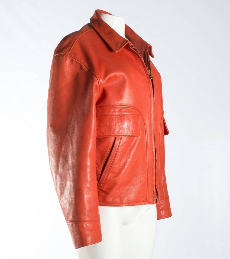 Yohji Yamamoto orange leather jacket with Marilyn Monroe pin-up, A / W 1991  For Sale 1
