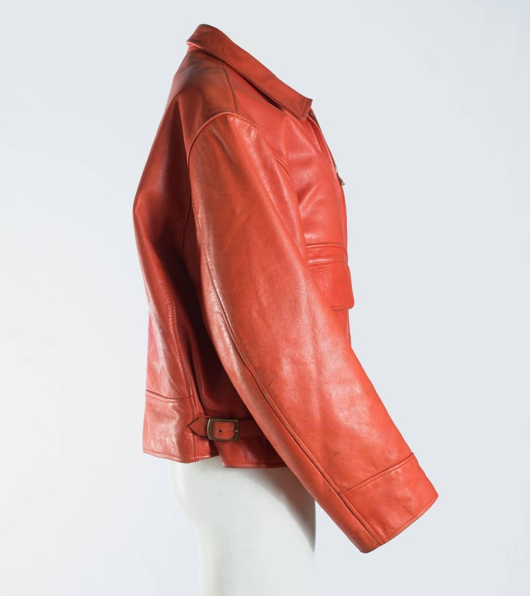 Yohji Yamamoto orange leather jacket with Marilyn Monroe pin-up, A / W 1991  For Sale 2