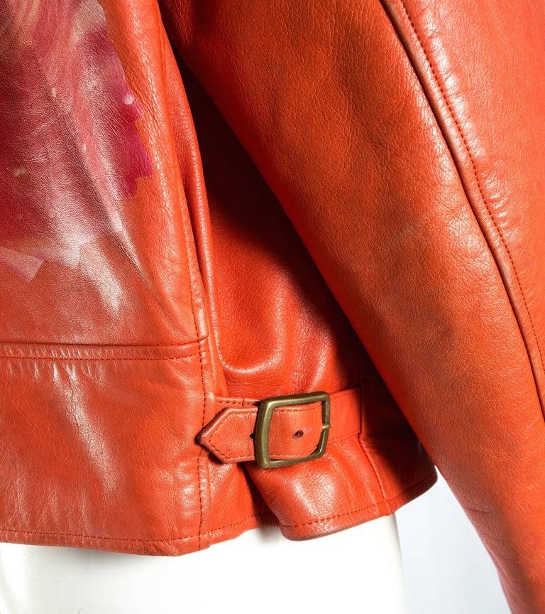 Yohji Yamamoto orange leather jacket with Marilyn Monroe pin-up, A / W 1991  For Sale 3