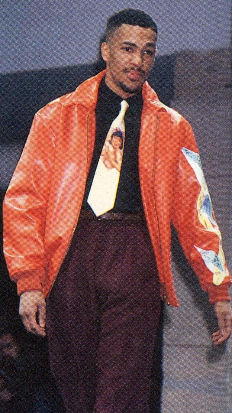 Yohji Yamamoto orange leather jacket with Marilyn Monroe pin-up, A / W 1991  For Sale 4