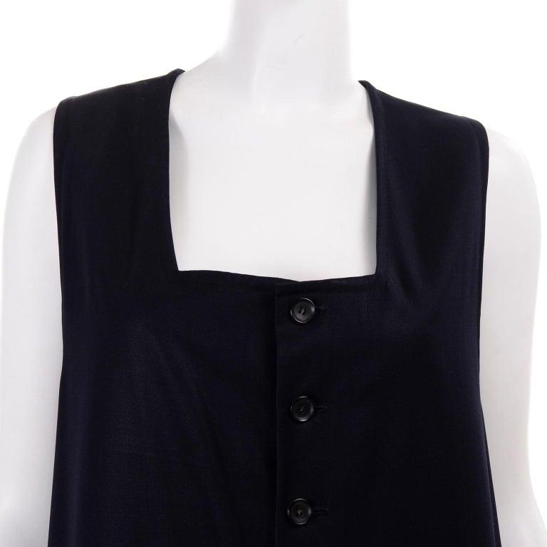 Yohji Yamamoto 1990s Vintage Midnight Blue Oversized Gabardine Wool Jumpsuit For Sale 6