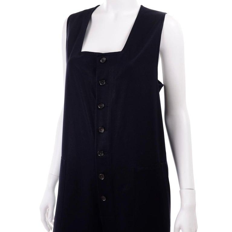 Yohji Yamamoto 1990s Vintage Midnight Blue Oversized Gabardine Wool Jumpsuit For Sale 7