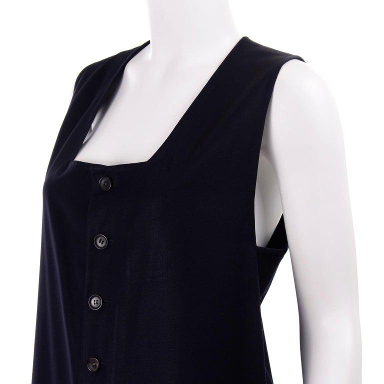 Yohji Yamamoto 1990s Vintage Midnight Blue Oversized Gabardine Wool Jumpsuit For Sale 8