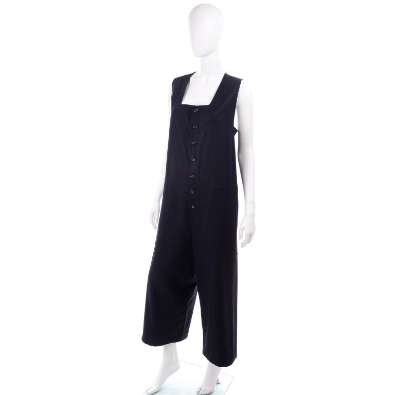 Yohji Yamamoto 1990s Vintage Midnight Blue Oversized Gabardine Wool Jumpsuit In Excellent Condition For Sale In Portland, OR