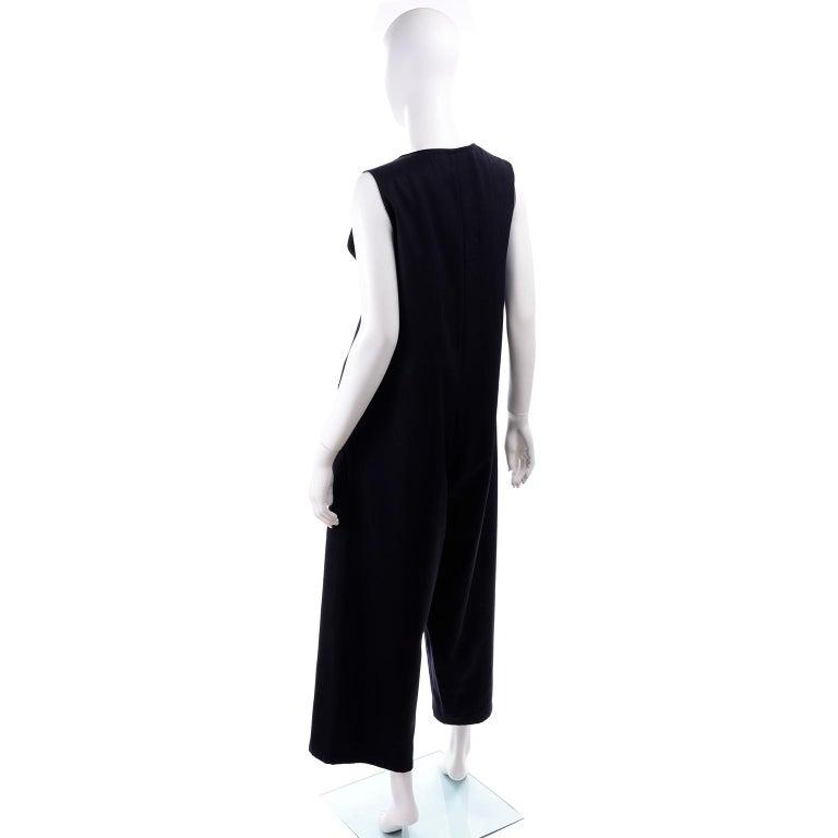 Women's Yohji Yamamoto 1990s Vintage Midnight Blue Oversized Gabardine Wool Jumpsuit For Sale