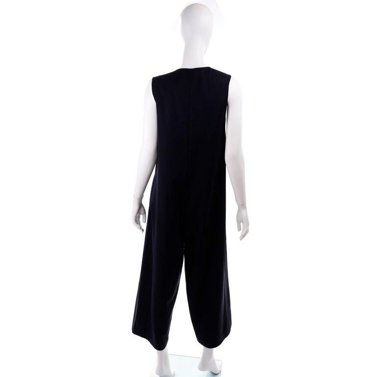 Yohji Yamamoto 1990s Vintage Midnight Blue Oversized Gabardine Wool Jumpsuit For Sale 1