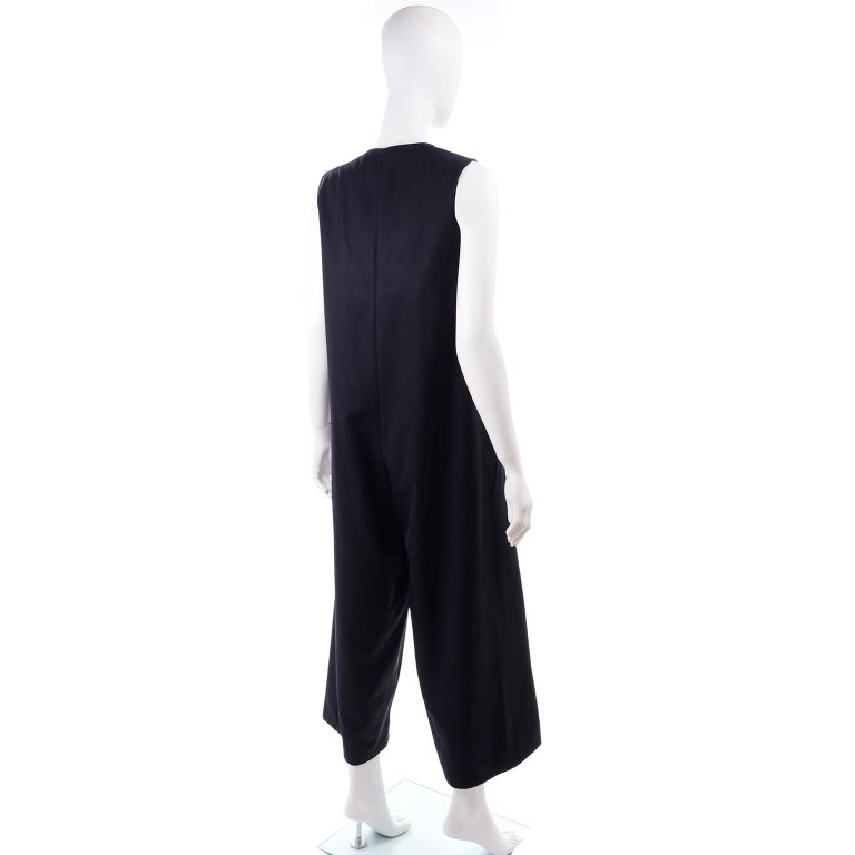 Yohji Yamamoto 1990s Vintage Midnight Blue Oversized Gabardine Wool Jumpsuit For Sale 3