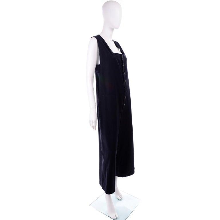 Yohji Yamamoto 1990s Vintage Midnight Blue Oversized Gabardine Wool Jumpsuit For Sale 4