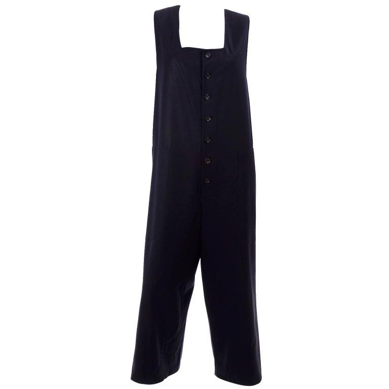 Yohji Yamamoto 1990s Vintage Midnight Blue Oversized Gabardine Wool Jumpsuit For Sale