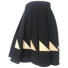 Yohji Yamamoto A/W 1991 Runway Box Pleated Wool and Wood Decoration Skirt