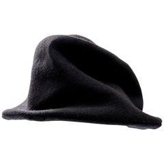 Yohji Yamamoto Black Asymmetrical Felted Wool Hat