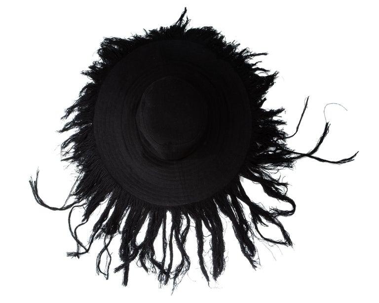 Yohji Yamamoto black cashmere wool wide brim sun hat with frayed trim   Fall-Winter 2013