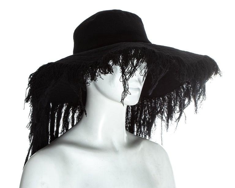 Women's Yohji Yamamoto black cashmere wool frayed wide brim sun hat, fw 2013 For Sale