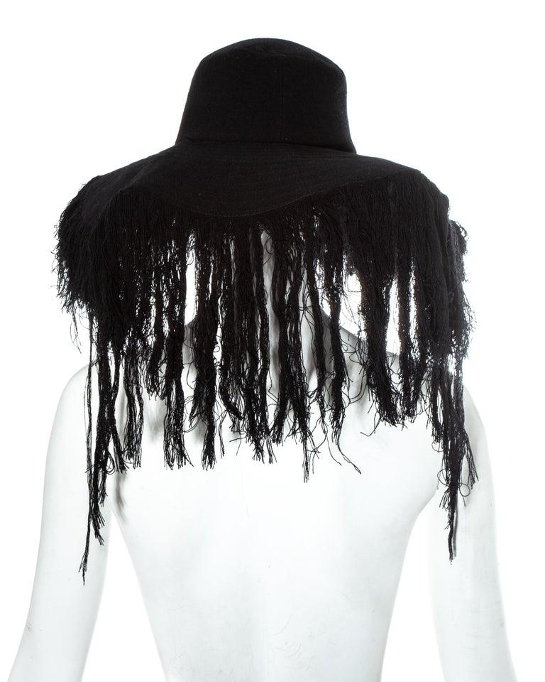 Yohji Yamamoto black cashmere wool frayed wide brim sun hat, fw 2013 For Sale 2