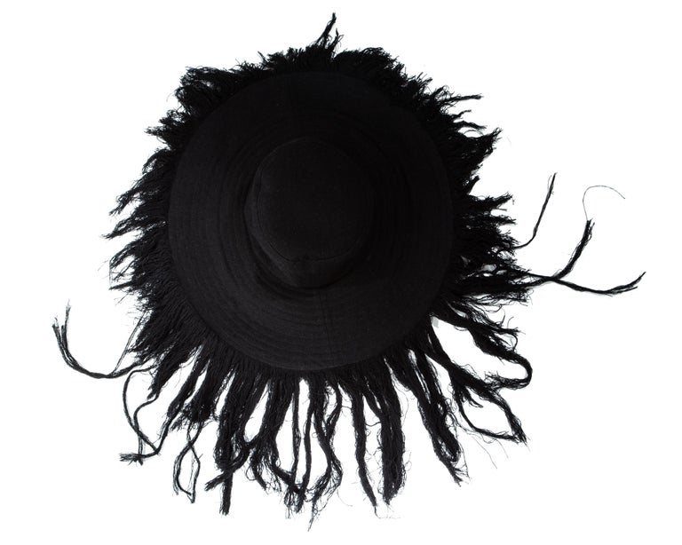 Yohji Yamamoto black cashmere wool frayed wide brim sun hat, fw 2013 In Excellent Condition For Sale In London, London