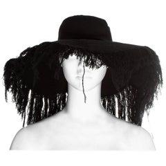 Yohji Yamamoto black cashmere wool frayed wide brim sun hat, fw 2013