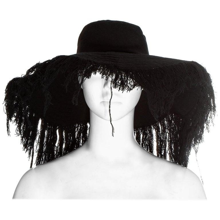 Yohji Yamamoto black cashmere wool frayed wide brim sun hat, fw 2013 For Sale