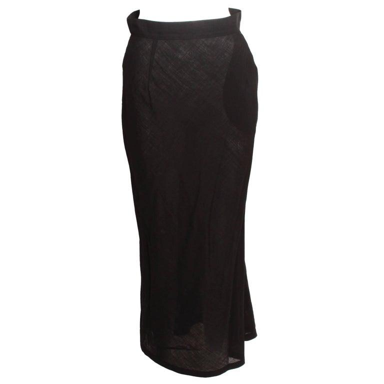 Yohji Yamamoto Black Column Skirt