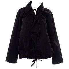 Yohji Yamamoto Black Cotton Boxy drawstring Jacket
