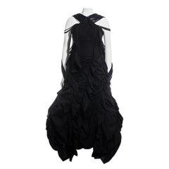 Yohji Yamamoto black cotton ruched crinoline maxi dress, ss 2008