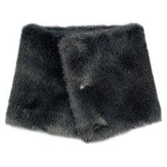 YOHJI YAMAMOTO Black Faux Fur Button Collar