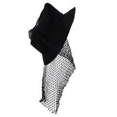 Yohji Yamamoto Black Hat Mesh Net Drape Detail circa SS 1999