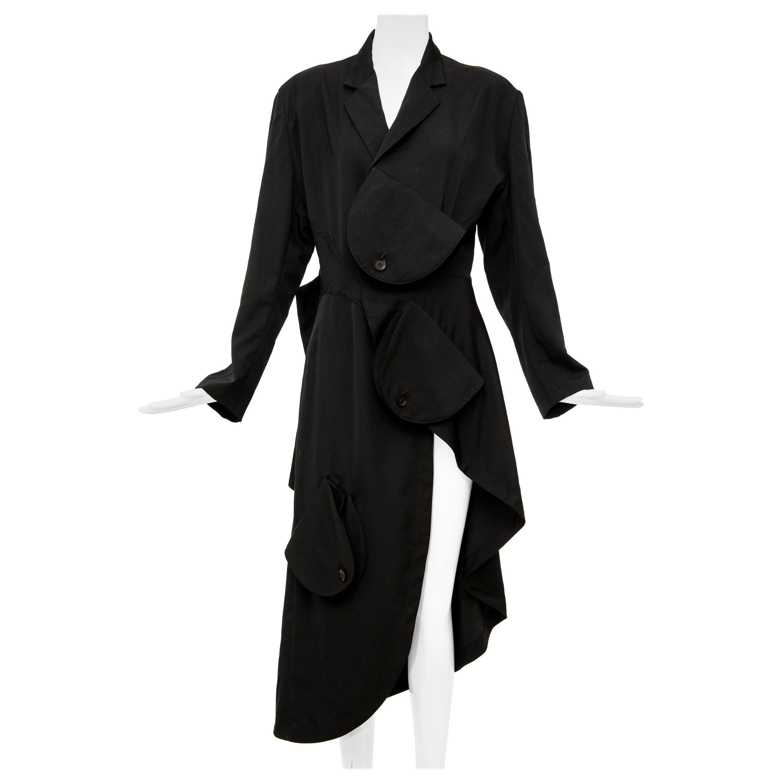 Yohji Yamamoto Black Lightweight Wool Coat Sloap Pockets, Spring 2017