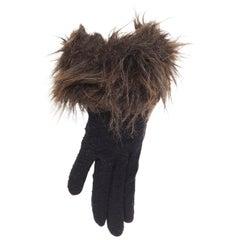 YOHJI YAMAMOTO black washed wool brown faux fur trimmed winter gloves
