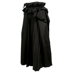 YOHJI YAMAMOTO black wool and silk pleated wrap skirt