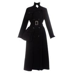 Yohji Yamamoto black wool gabardine coat with exaggerated pockets, fw 2004