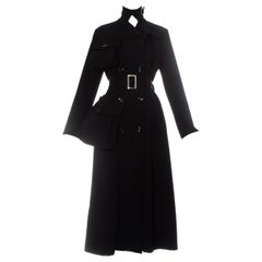 Yohji Yamamoto black wool gabardine coat with exaggerated pockets, fw 2004