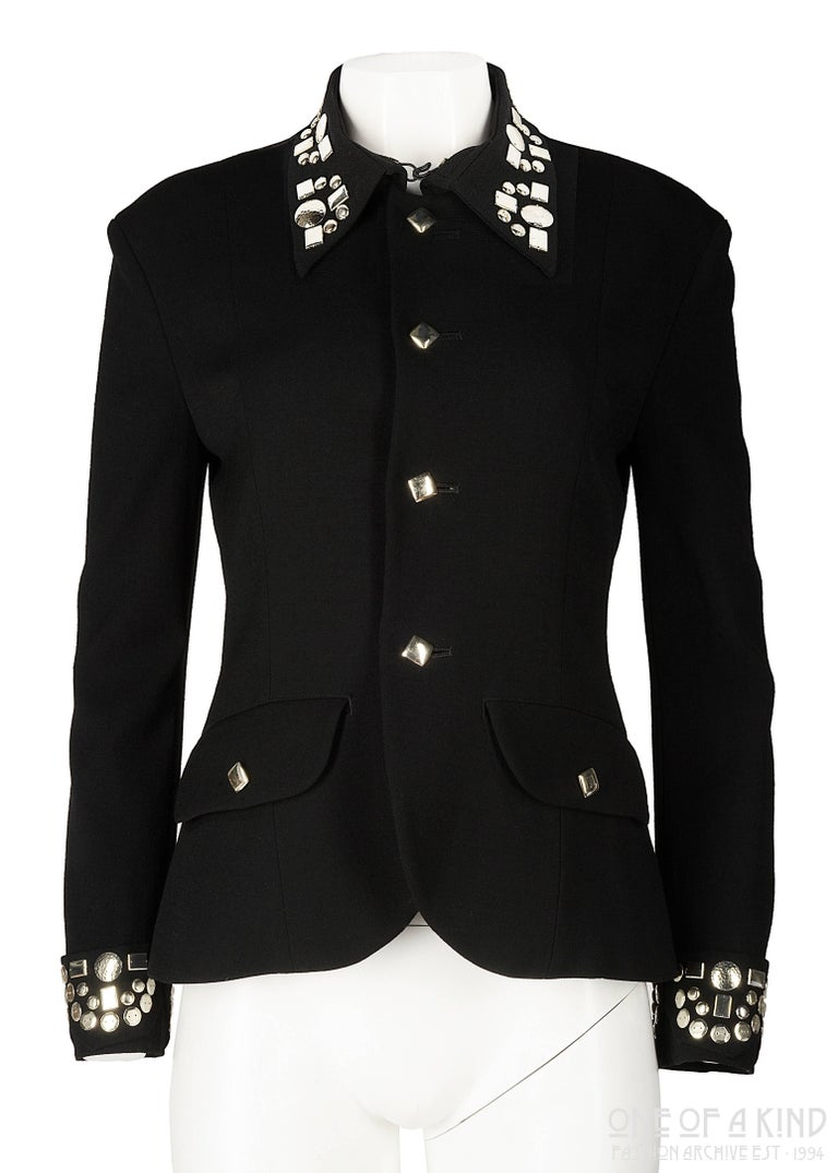 Black Yohji Yamamoto black wool jacket with silver studs, aw 1997 For Sale