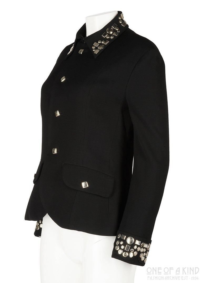 Women's Yohji Yamamoto black wool jacket with silver studs, aw 1997 For Sale