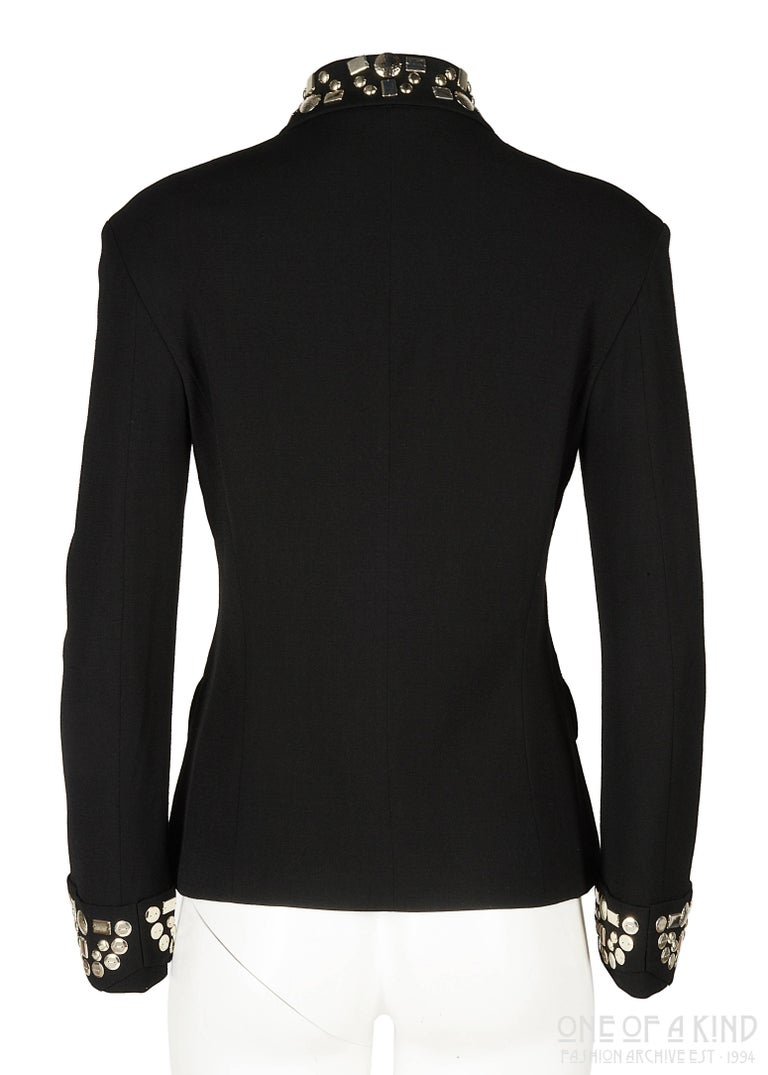 Yohji Yamamoto black wool jacket with silver studs, aw 1997 For Sale 2