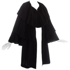 Yohji Yamamoto black wool pleated evening cape, c. 1990