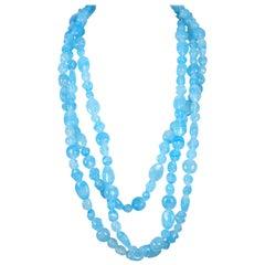 YOHJI YAMAMOTO blue beaded glass runway necklace