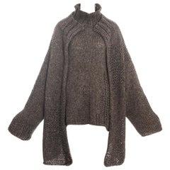 Yohji Yamamoto brown knitted wool oversized cardigan and sweater, fw 1984