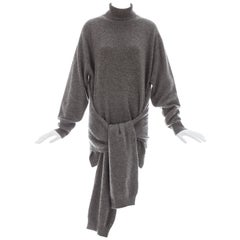Yohji Yamamoto grey wool 4 sleeve turtle neck sweater, ca. 1992