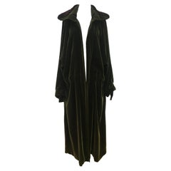 Yohji Yamamoto Khaki Velvet Zip Fur Collar Parka Coat aw 1998