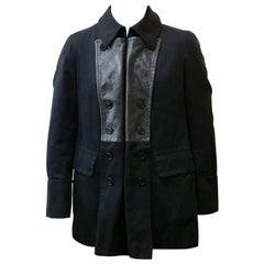Yohji Yamamoto Leather Trim Pea Coat