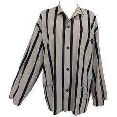 Yohji Yamamoto Mens Black and Taupe Cotton Stripe Button Front Work Jacket 1990