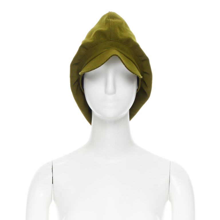 YOHJI YAMAMOTO military green wool short beak oversized draped beanie hat Brand: Yohji Yamamoto Designer: Yohji Yamamoto Model Name / Style: Beanie hat Material: Other; composition label removed. Color: Green Pattern: Solid Extra Detail: Short