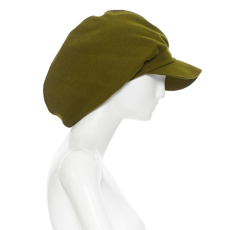 Brown YOHJI YAMAMOTO military green wool short beak oversized draped beanie hat For Sale