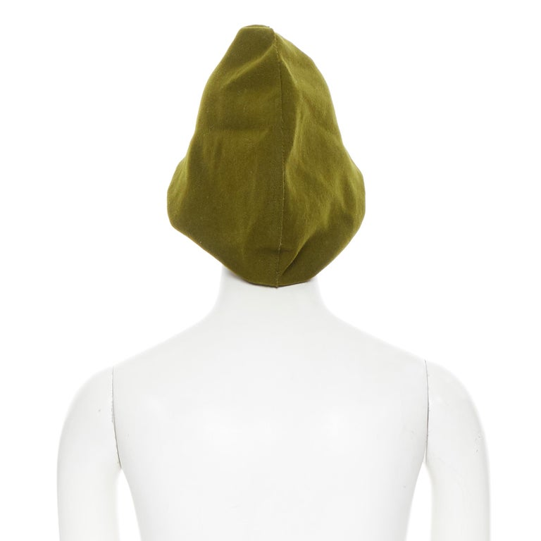 YOHJI YAMAMOTO military green wool short beak oversized draped beanie hat In Excellent Condition For Sale In Hong Kong, NT
