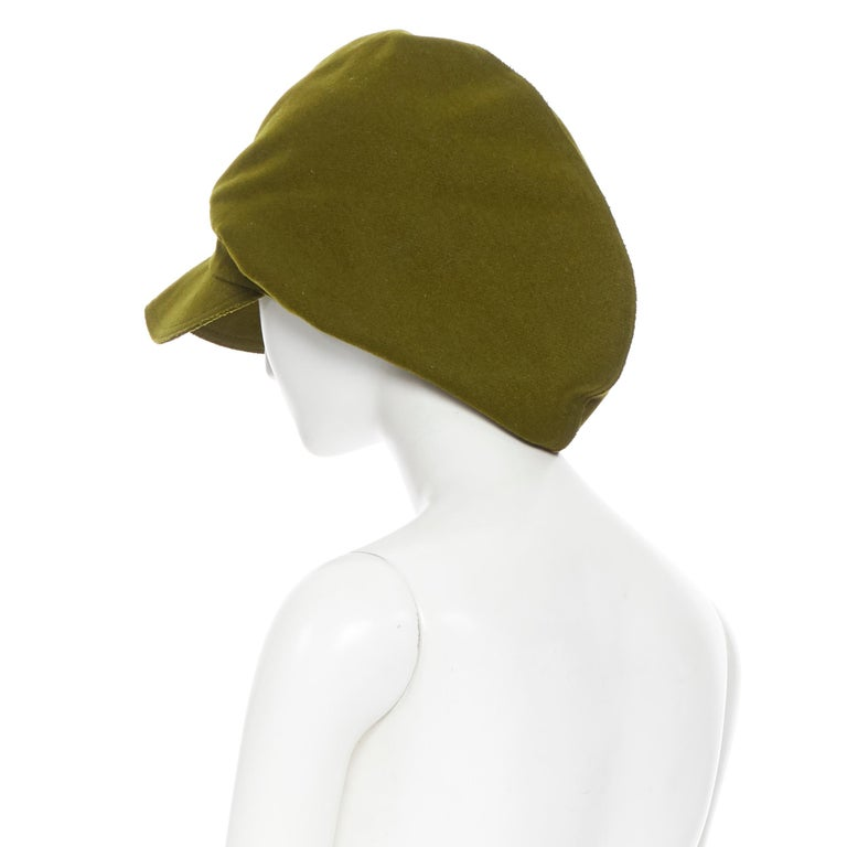 Women's YOHJI YAMAMOTO military green wool short beak oversized draped beanie hat For Sale