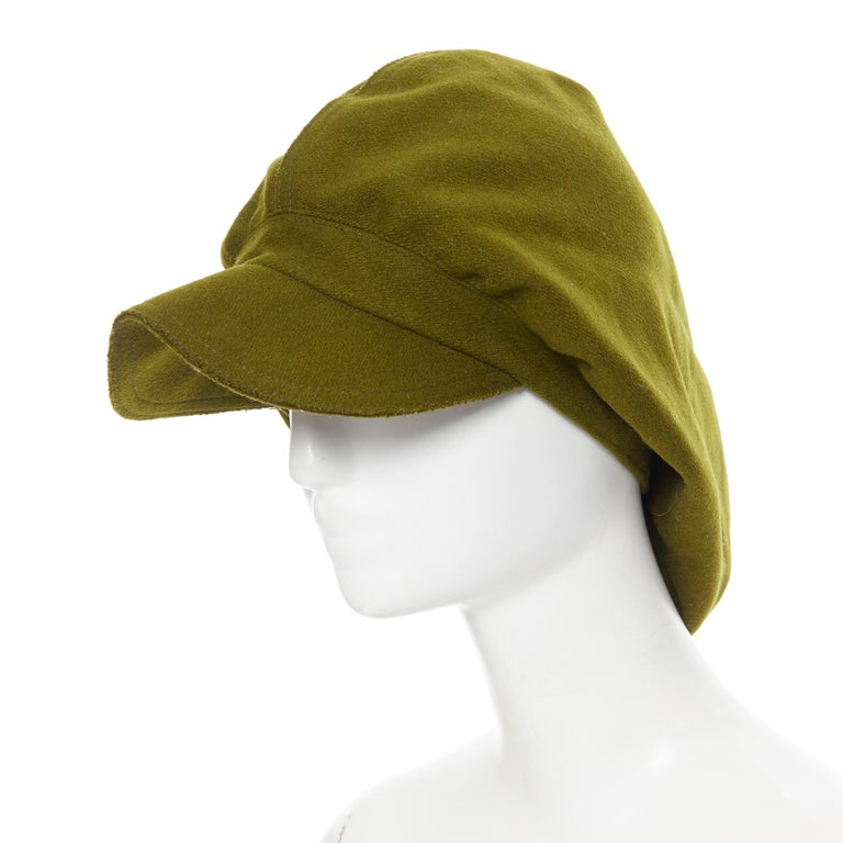 YOHJI YAMAMOTO military green wool short beak oversized draped beanie hat For Sale 1
