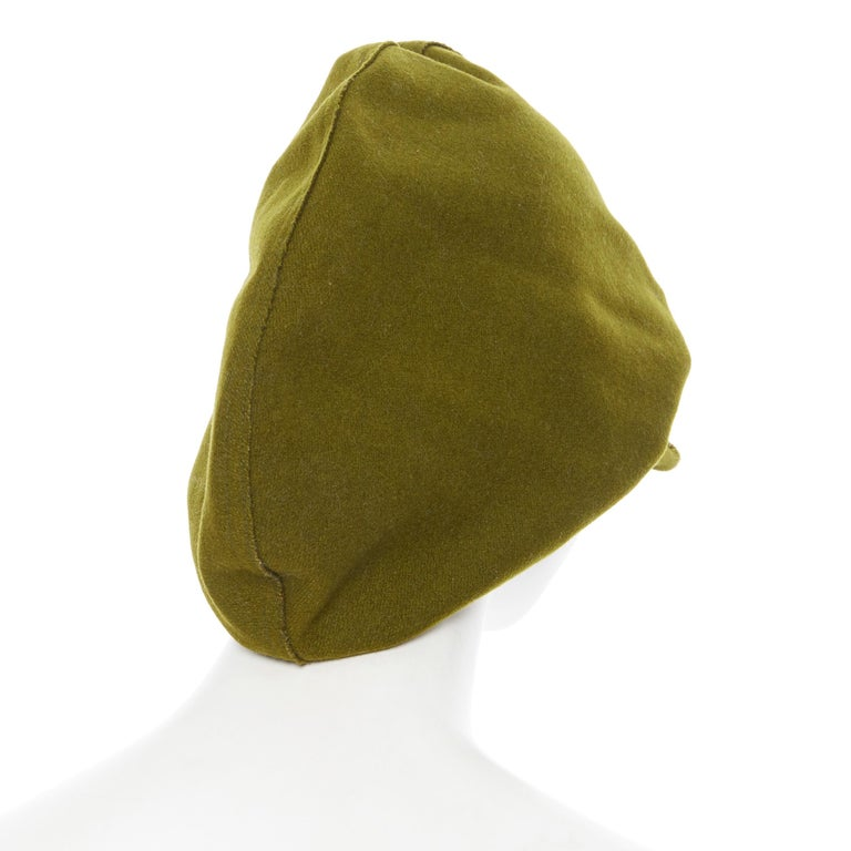 YOHJI YAMAMOTO military green wool short beak oversized draped beanie hat For Sale 2