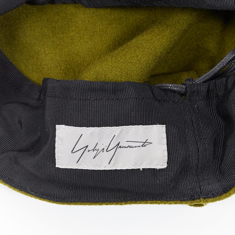 YOHJI YAMAMOTO military green wool short beak oversized draped beanie hat For Sale 3